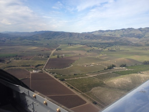 Arrival over farmland, SLO